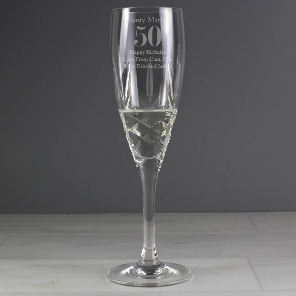 Personalised Big Age Cut Crystal Champagne Flute