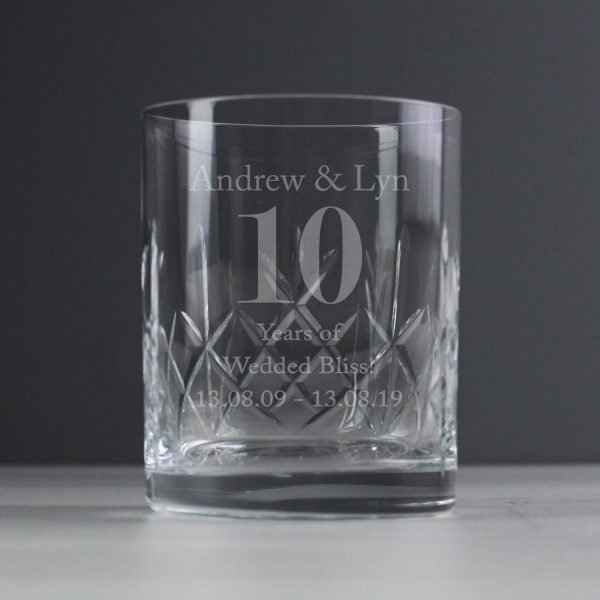 Personalised Big Age Cut Crystal Whisky Tumbler