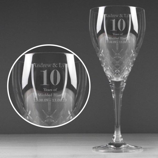 Personalised Big Age Cut Crystal Wine Glass