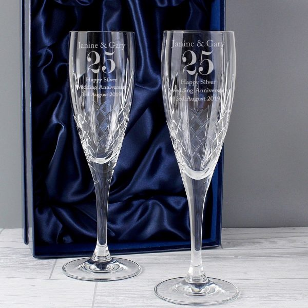 Personalised Anniversary Pair of Crystal Flutes