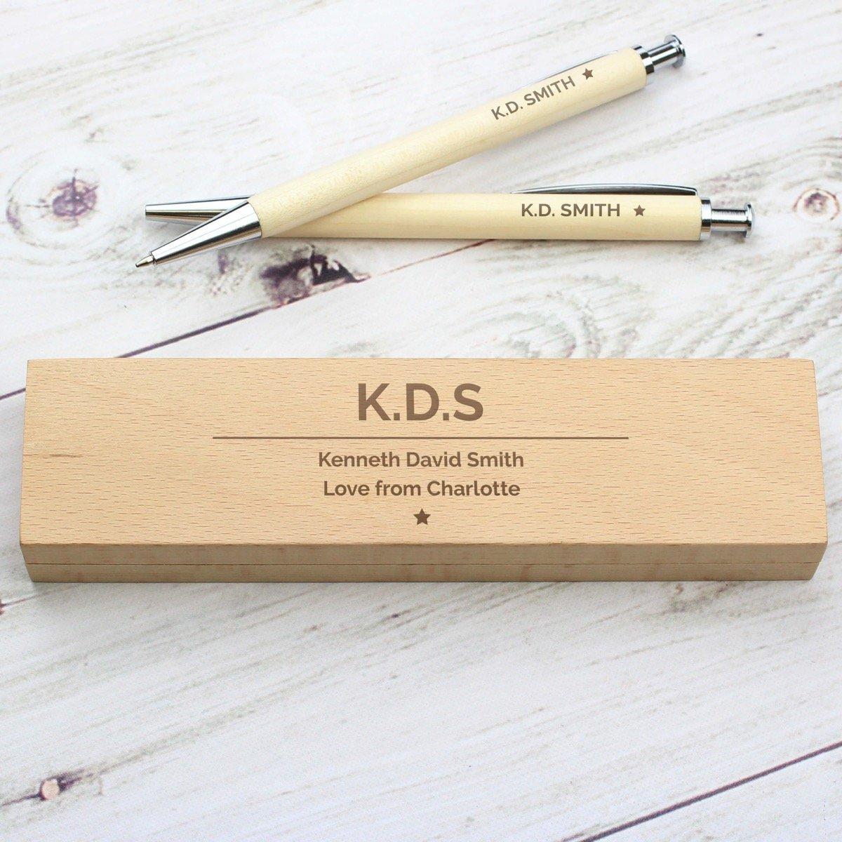 Personalised Classic Wooden Pen & Pencil Box Set