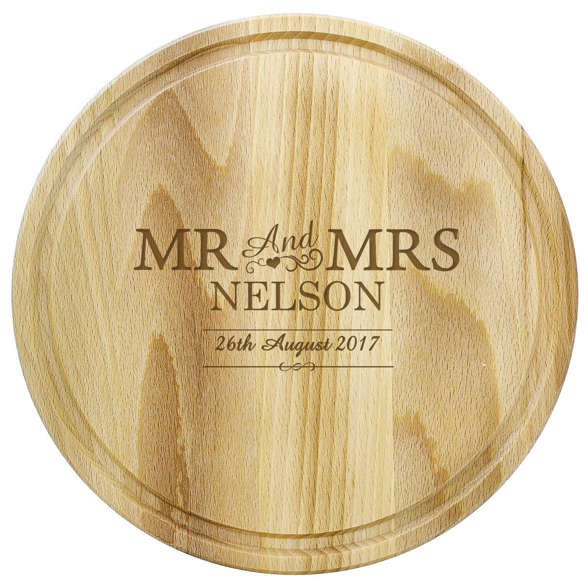 Personalised Mr & Mrs Round Chopping Board