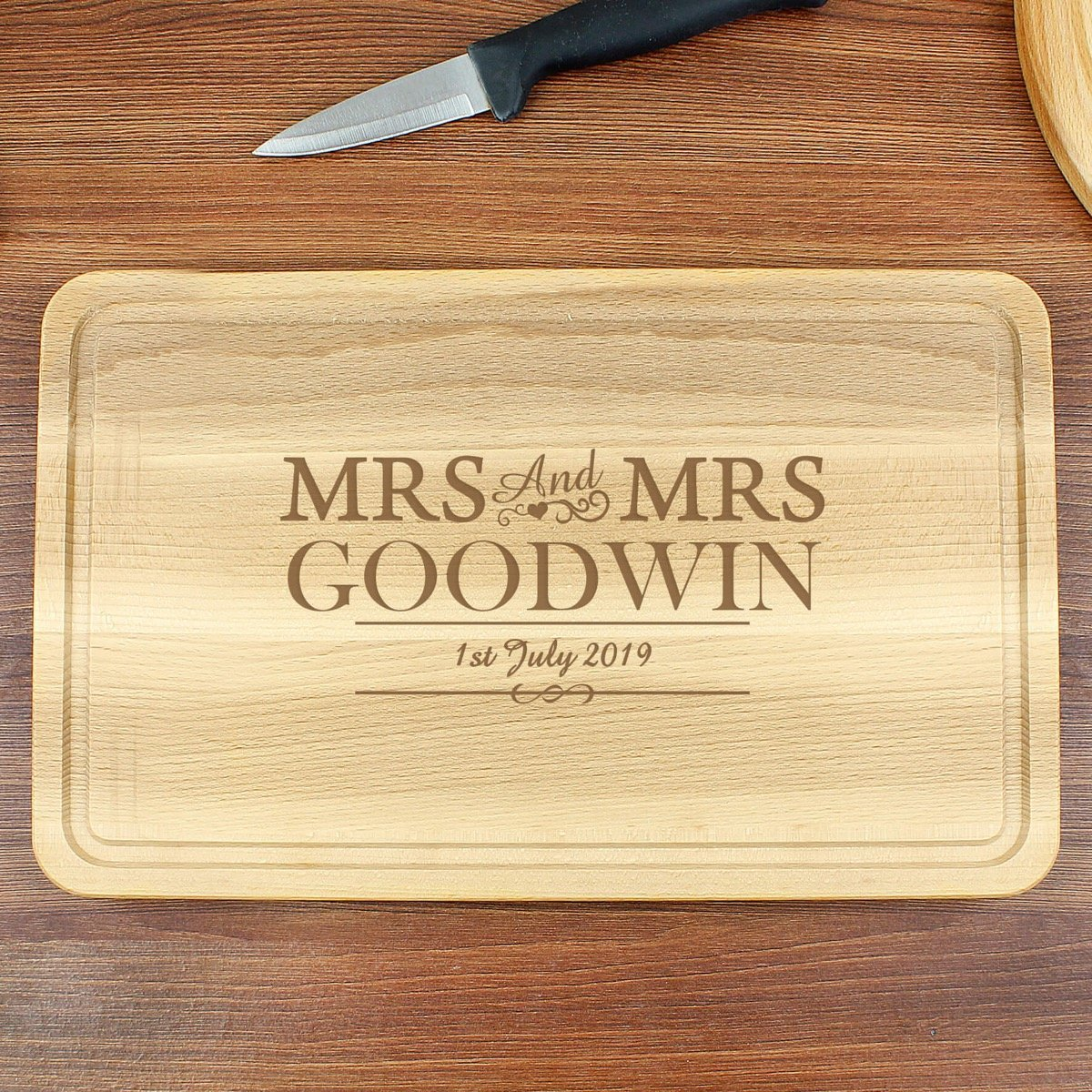 Personalised Mrs & Mrs Large Chopping Board