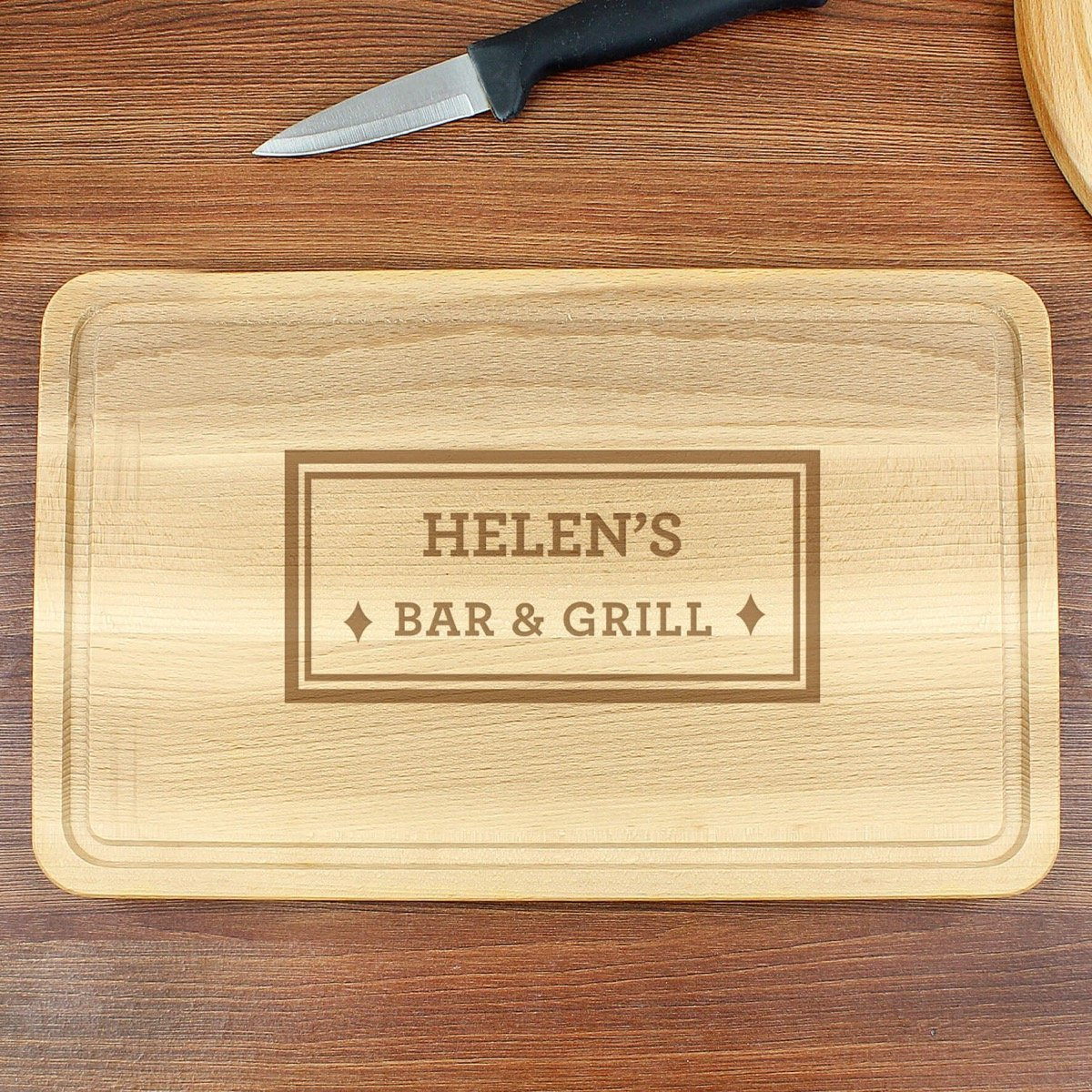 Personalised Bar & Grill Large Chopping Board