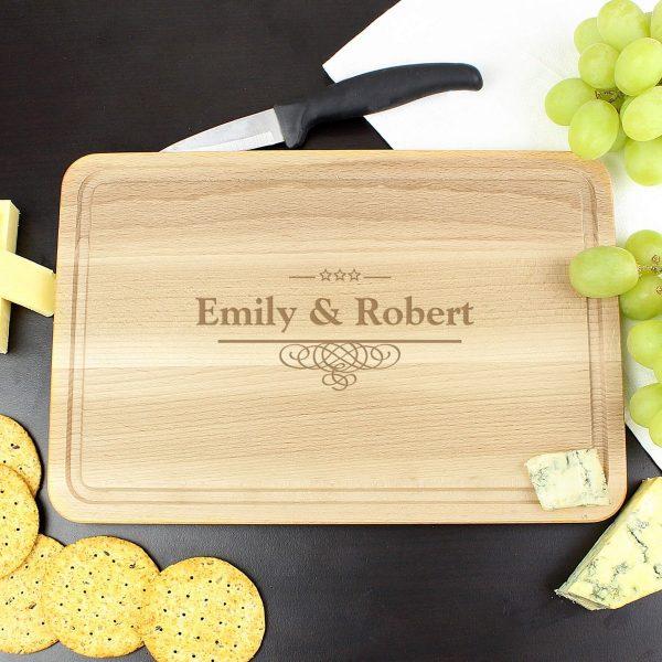 Personalised Decorative Swirl Large Chopping Board