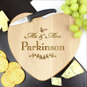 Personalised Mr and Mrs Leaf Heart Chopping Board