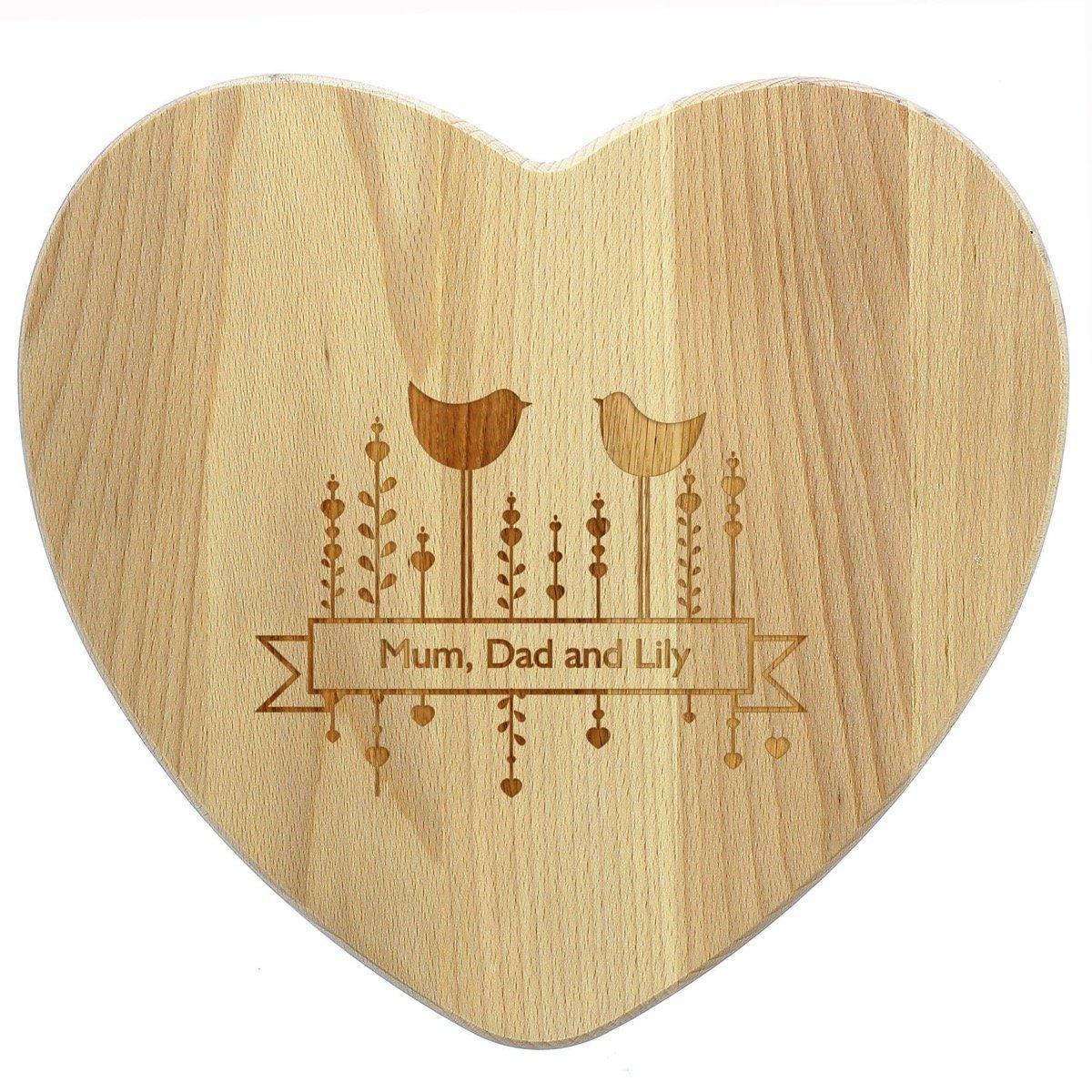 Personalised Decorative Bird Heart Chopping Board