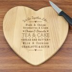 Personalised We Go Together Like… Heart Chopping Board