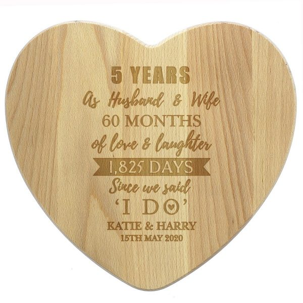 Personalised 5th Anniversary Heart Chopping Board