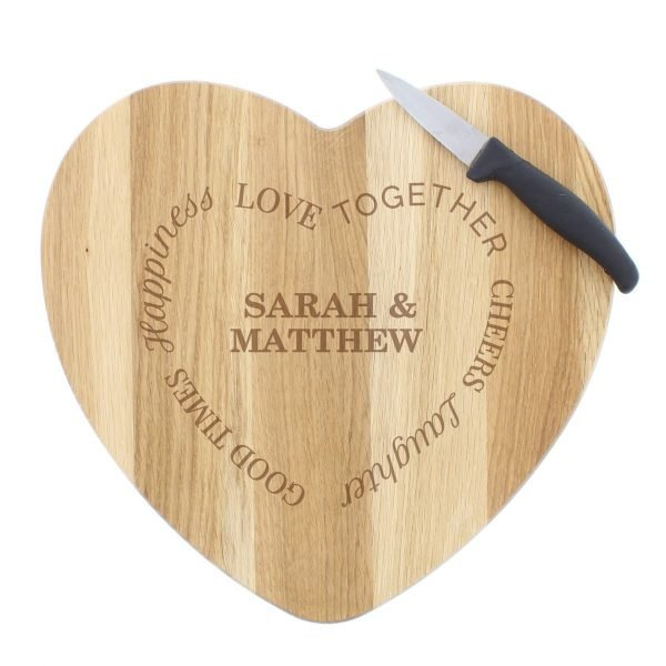 Personalised Good Times Heart Chopping Board