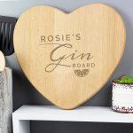 Personalised Gin Heart Chopping Board