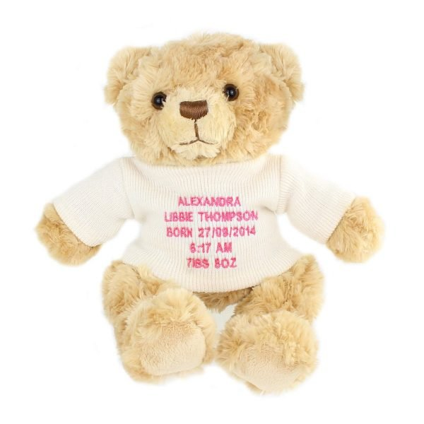 Personalised Message Teddy Bear – Pink Embroidery