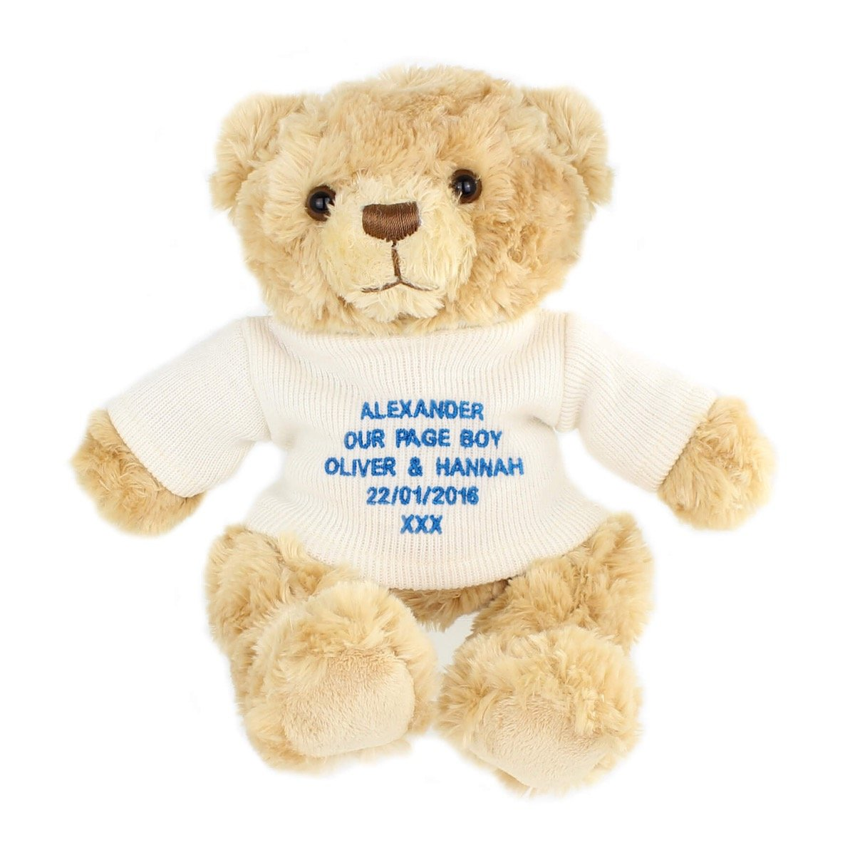 Personalised Message Teddy Bear – Blue Embroidery