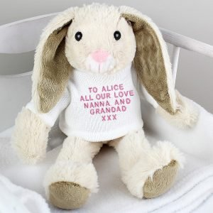Personalised Message Bunny Rabbit In Cream Jumper – Pink Embroidery