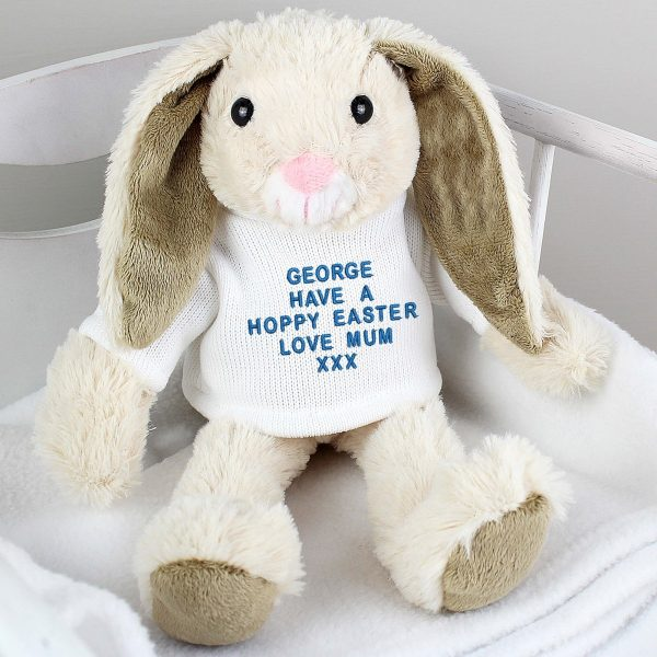 Personalised Message Bunny Rabbit – Blue Embroidery