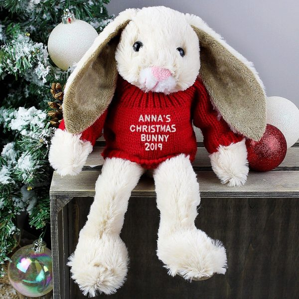 Personalised Christmas Bunny Rabbit Soft Toy In Red Jumper