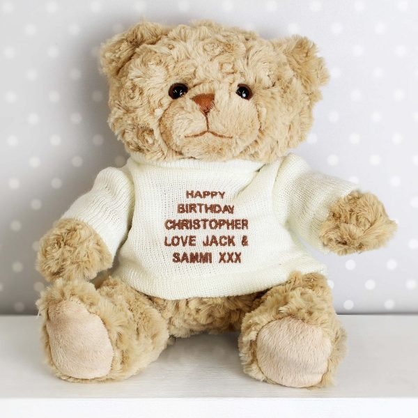 Personalised Message Teddy Bear – Brown Embroidery
