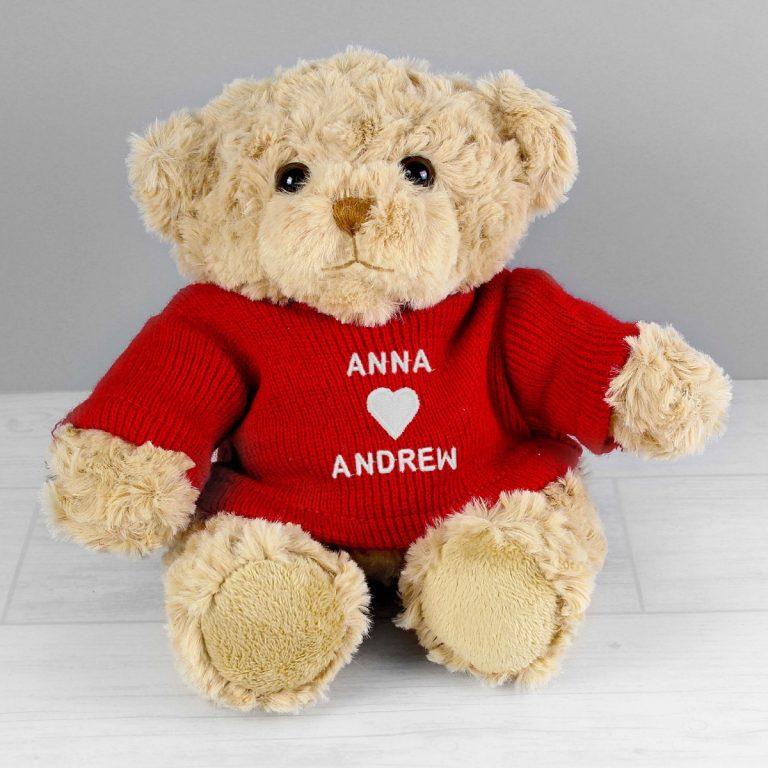 Personalised Love Heart Teddy Bear in Red Jumper