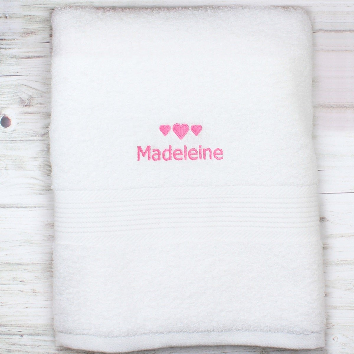 Personalised Pink Hearts White Bath Towel