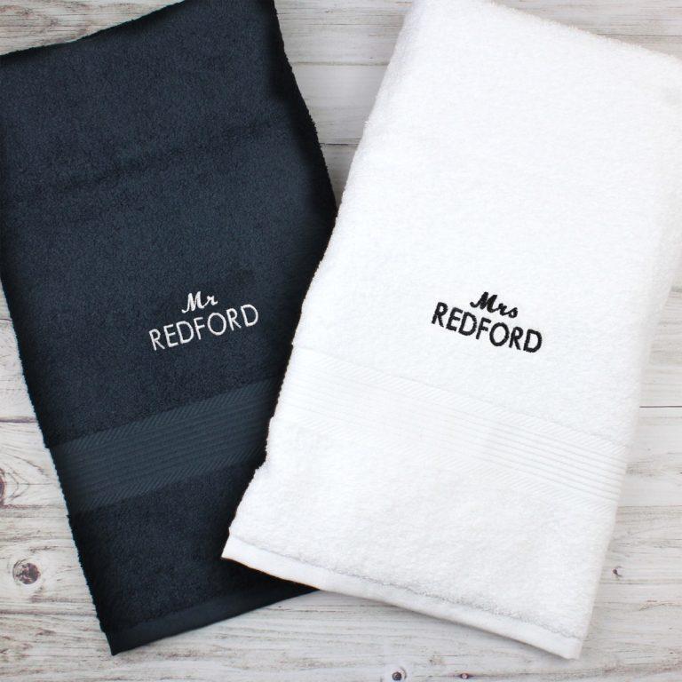 Personalised Mr & Mrs Black and White Bath Towel Set