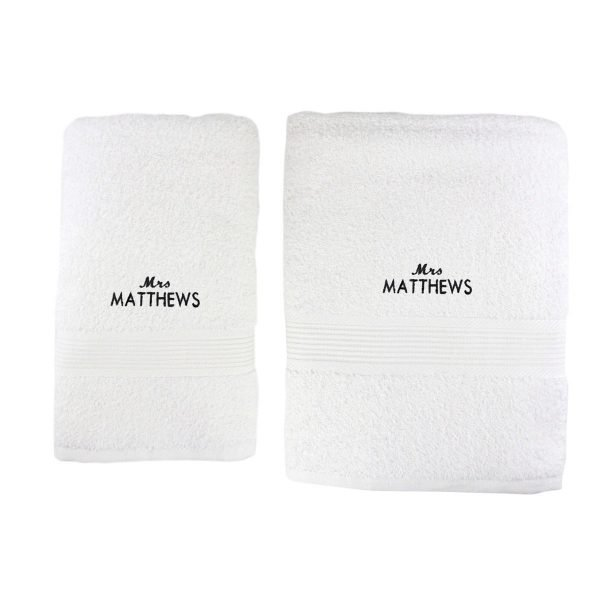 Personalised 'Mrs' White Hand and Bath Towel Set
