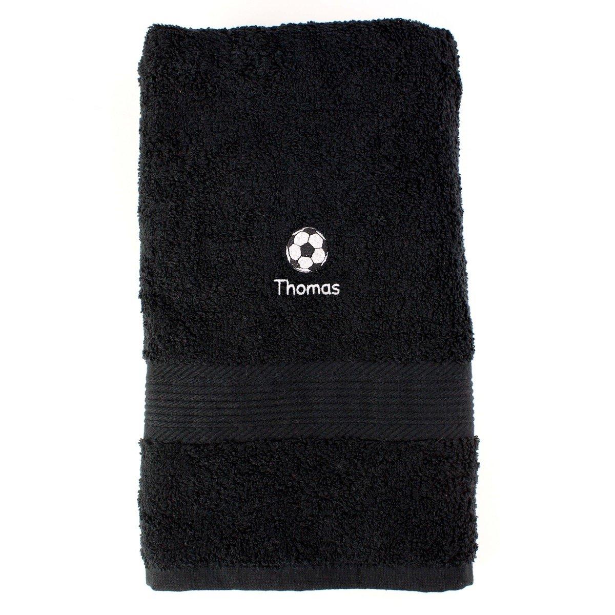 Personalised Football Black Hand Towel