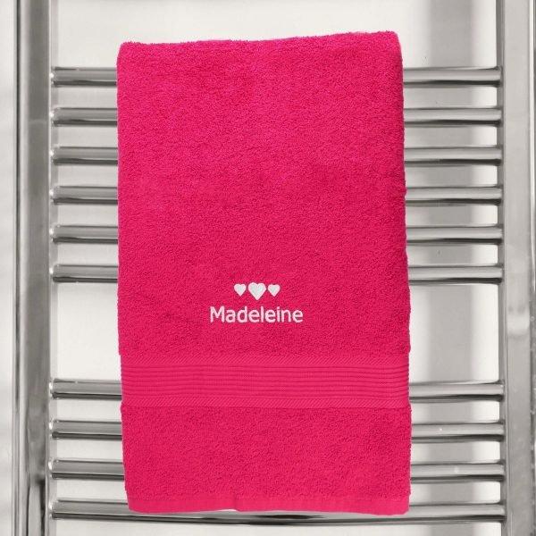 Personalised Hearts Bright Pink Bath Towel
