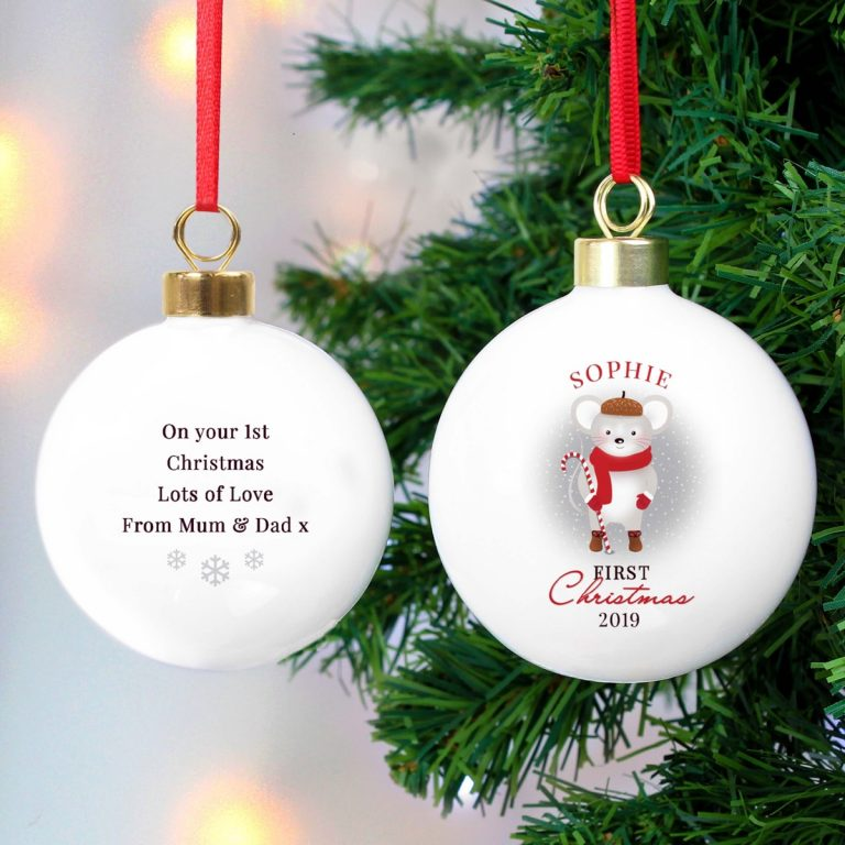 Personalised '1st Christmas' Mouse Bauble