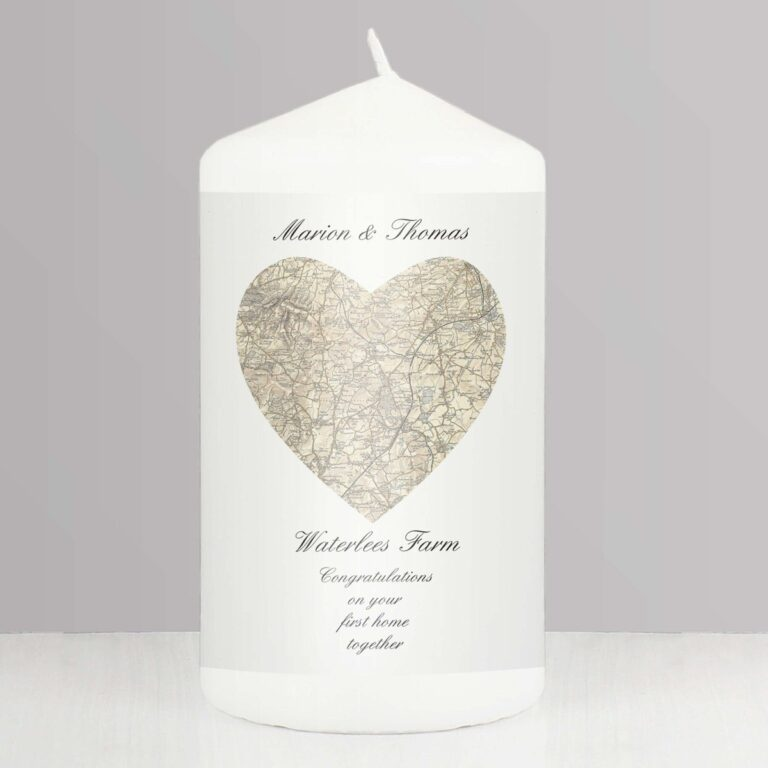 Personalised 1896 – 1904 Revised New Heart Map Candle