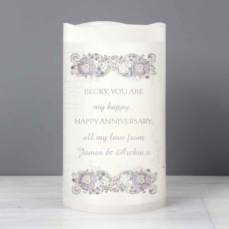 Personalised Floral Spiral LED Candle