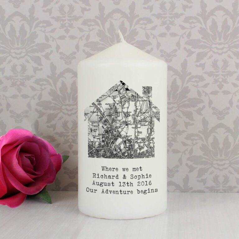 Personalised 1805 – 1874 Old Series Map Home Candle