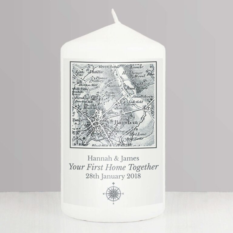 Personalised 1805 – 1874 Old Series Map Compass Pillar Candle
