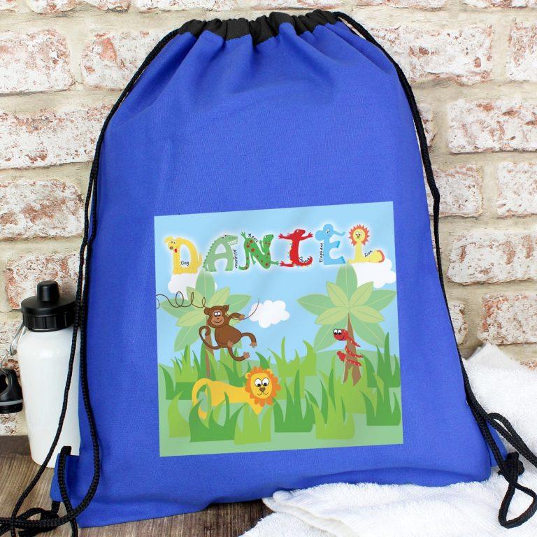 Personalised Blue Animal Alphabet Swim & Kit Bag