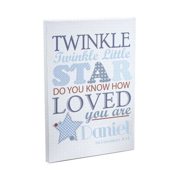 Personalised Twinkle Boys Canvas