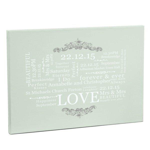 Personalised Wedding Typographic Art Canvas