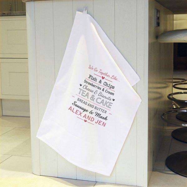Personalised We Go Together Like…. White Tea Towel