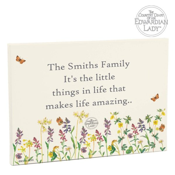 Personalised Country Diary Wild Flowers Canvas