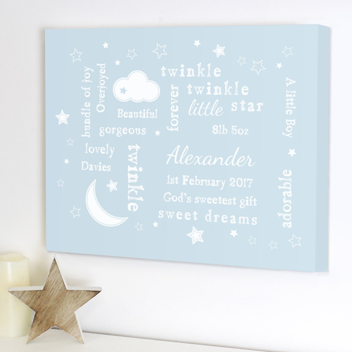 Personalised Twinkle Twinkle Typography Blue Canvas