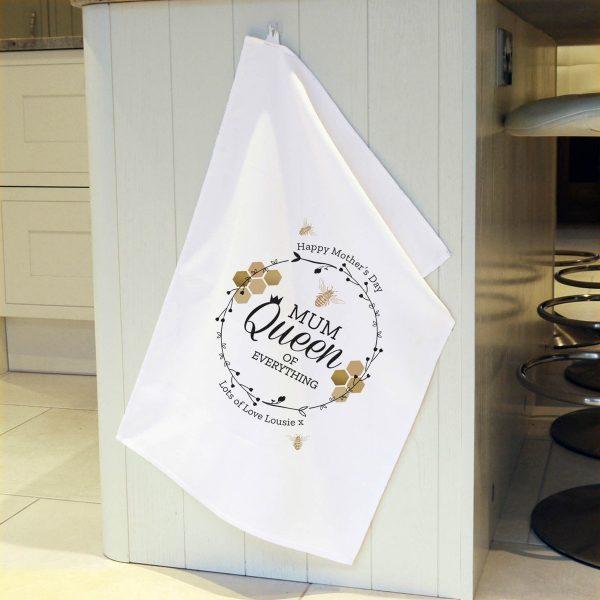 Personalised Queen Bee White Tea Towel