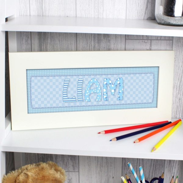 Personalised Blue Stitch Name Frame