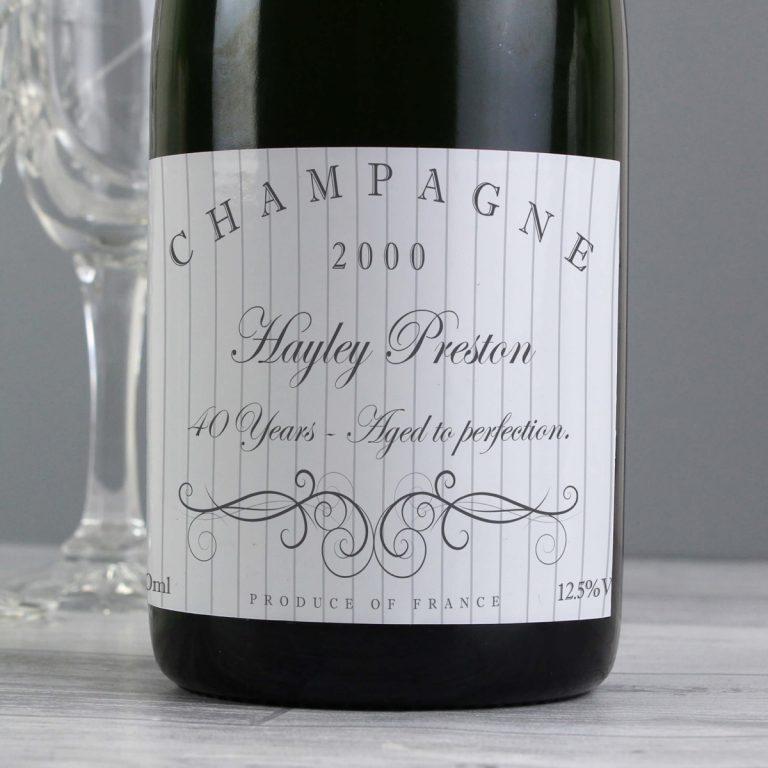 Personalised Elegant Swirl Champagne Bottle