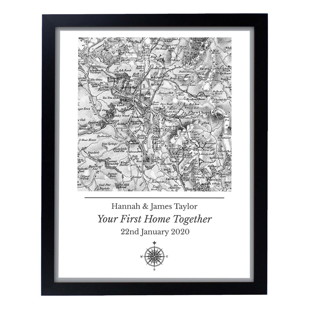 Personalised 1805 – 1874 Old Series Map Compass Black Framed Print