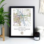 Personalised Present Day Map Compass Black Framed Poster Print