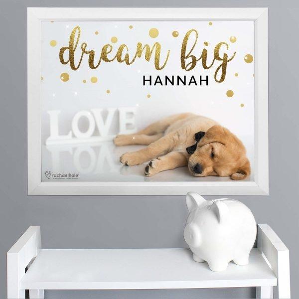 Personalised Rachael Hale Dream Big White Framed Print