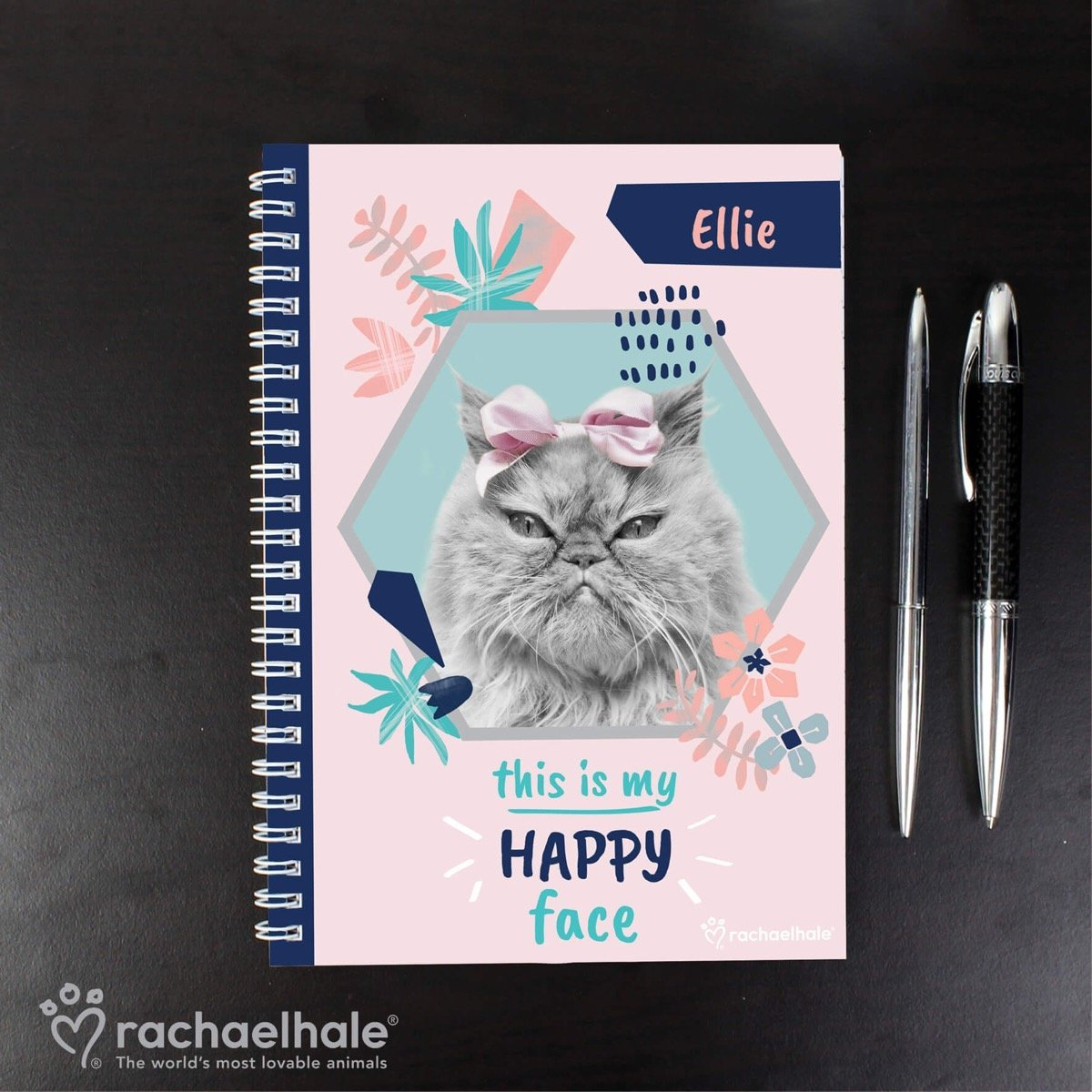 Personalised Rachael Hale 'Happy Face' Cat A5 Notebook