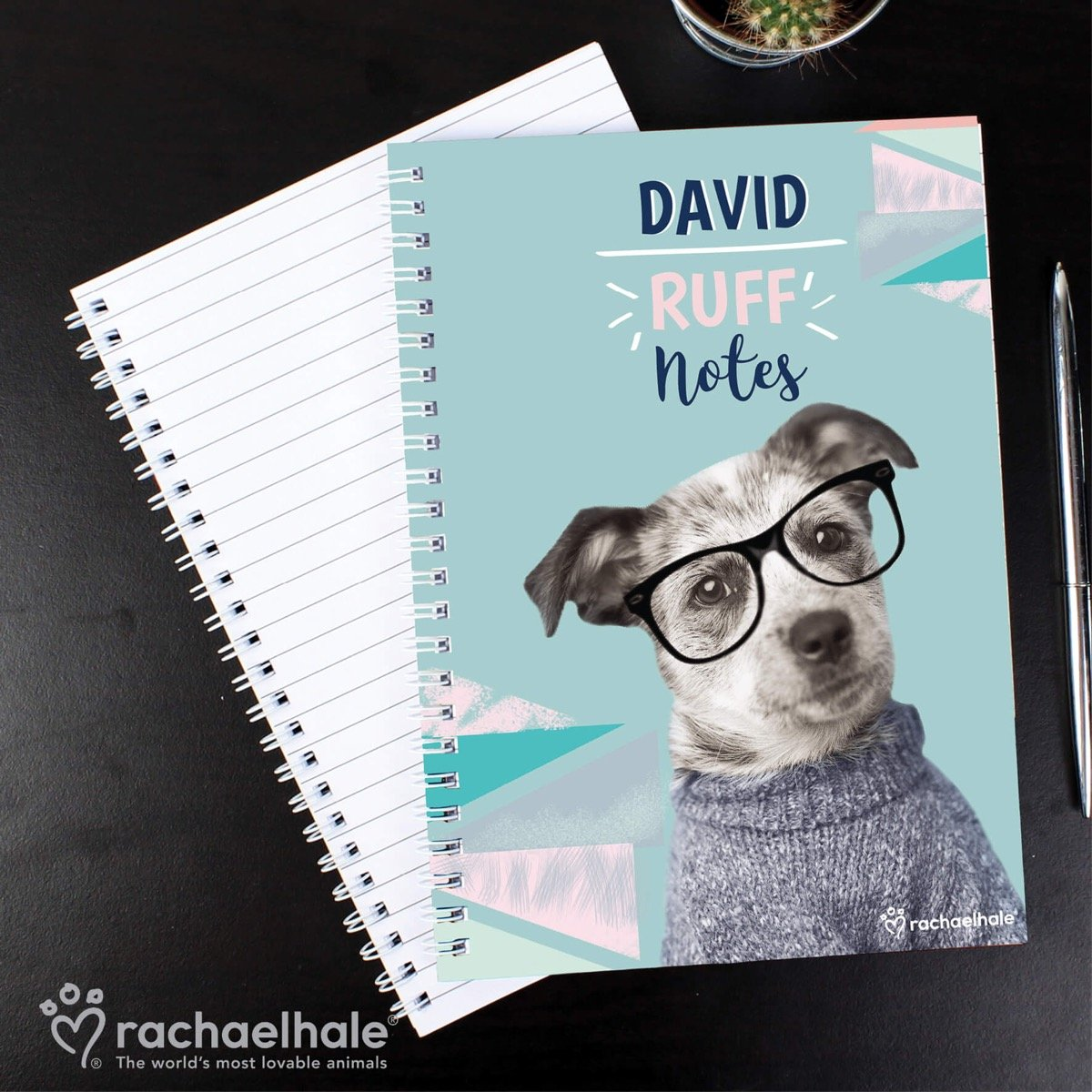 Personalised Rachael Hale 'Ruff Notes' Dog A5 Notebook