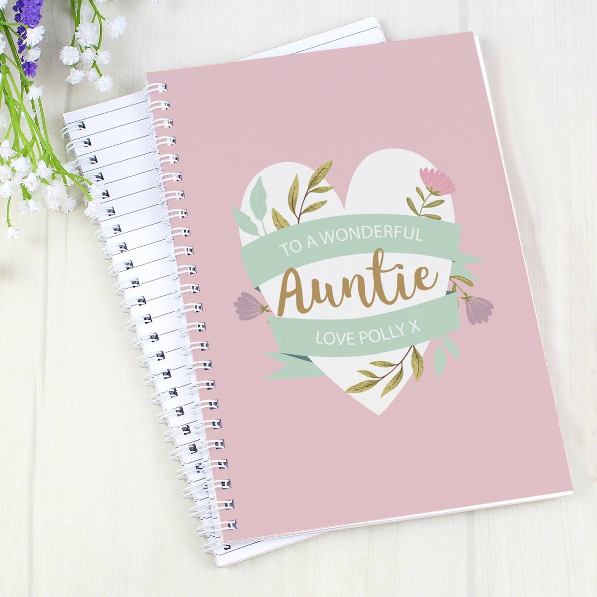 Personalised Floral Heart Mother's Day A5 Notebook