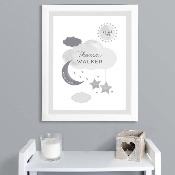 Personalised New Baby Moon & Stars White Framed Print