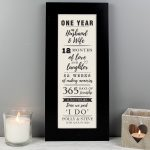 Personalised 1st Anniversary Letterbox Frame