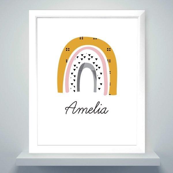 Personalised Mustard & Pink Rainbow White Framed Print
